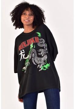 Женская майка футболка с рисунком дракона из хлопка