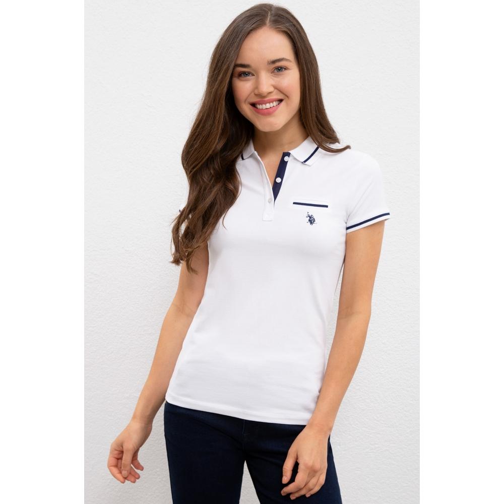Qadın üçün US Polo Assn T-shirt ağ rəngdə