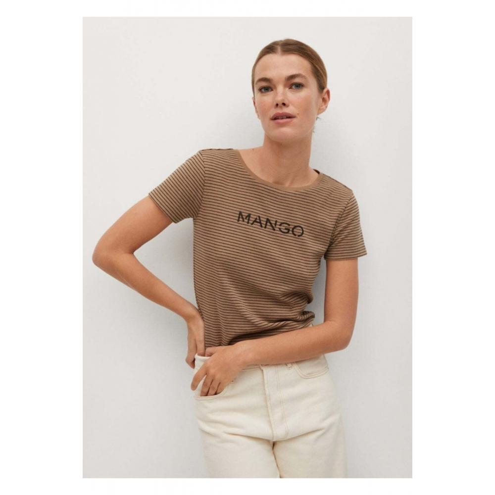 Женская футболка кофейного цвета Mango