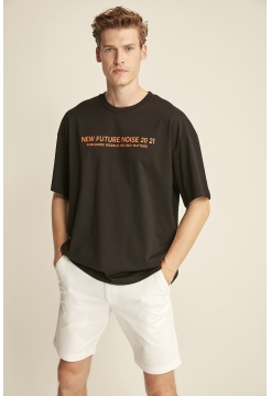Мужская черная футболка Grimelange свободного покроя