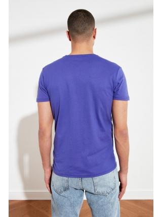 T-shirt kişilər üçün bənövşəyi rəngdə