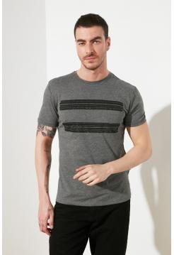 Серая мужская футболка с полоской спереди Trendyol Man
