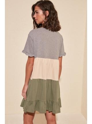 Разноцветное женское мини платье из чистого хлопка с короткими рукавами