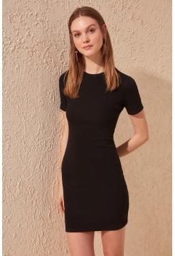 Черное платье для девушек мини формы с короткими рукавами с круглым воротником