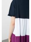 Женское платье из трех цветов с короткими рукавами