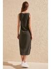 Женское платье серого цвета из чистого хлопка