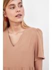Короткое бежевое женское платье Trendyolmilla