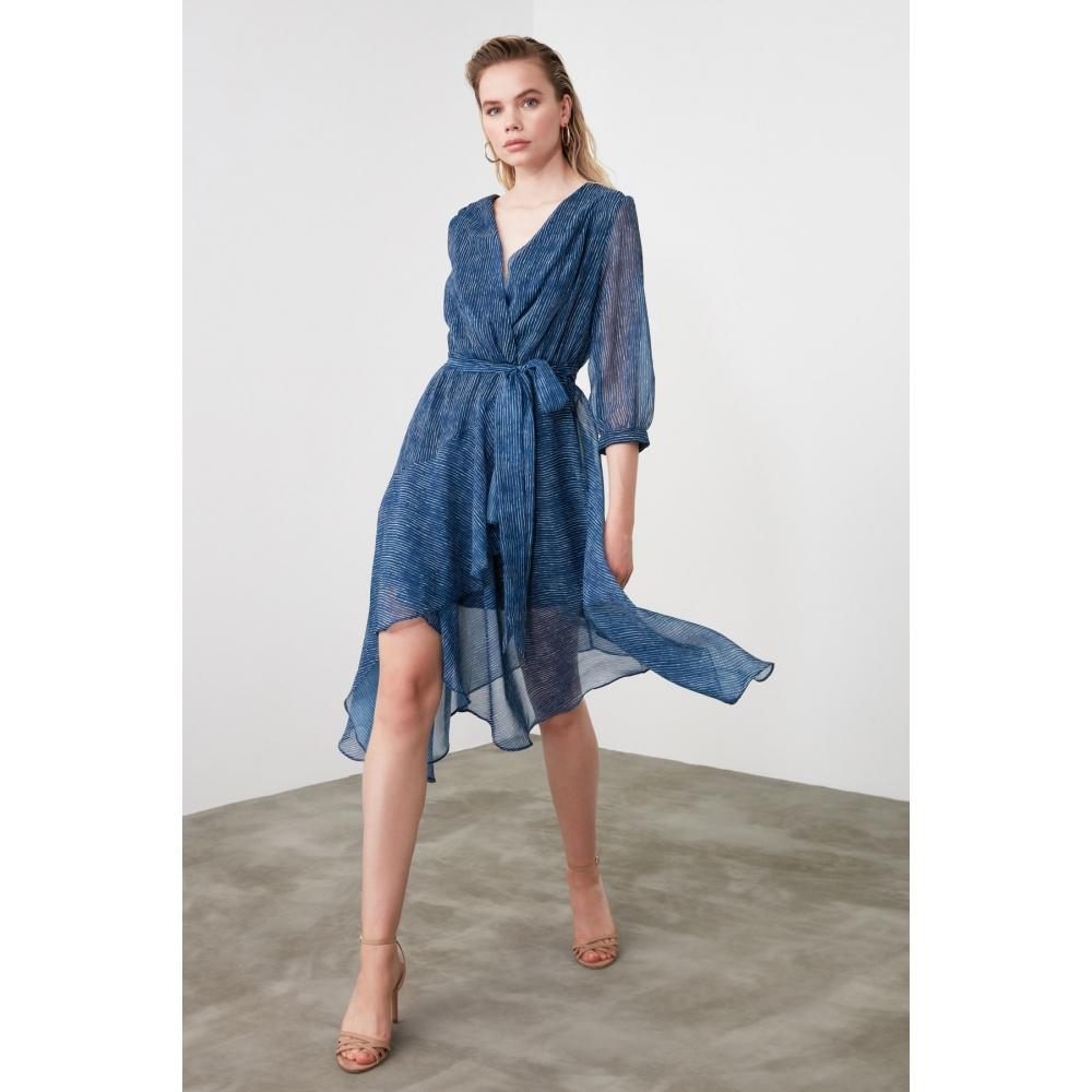 Голубое платье Trendyolmilla для девушки в полоску с ремнем