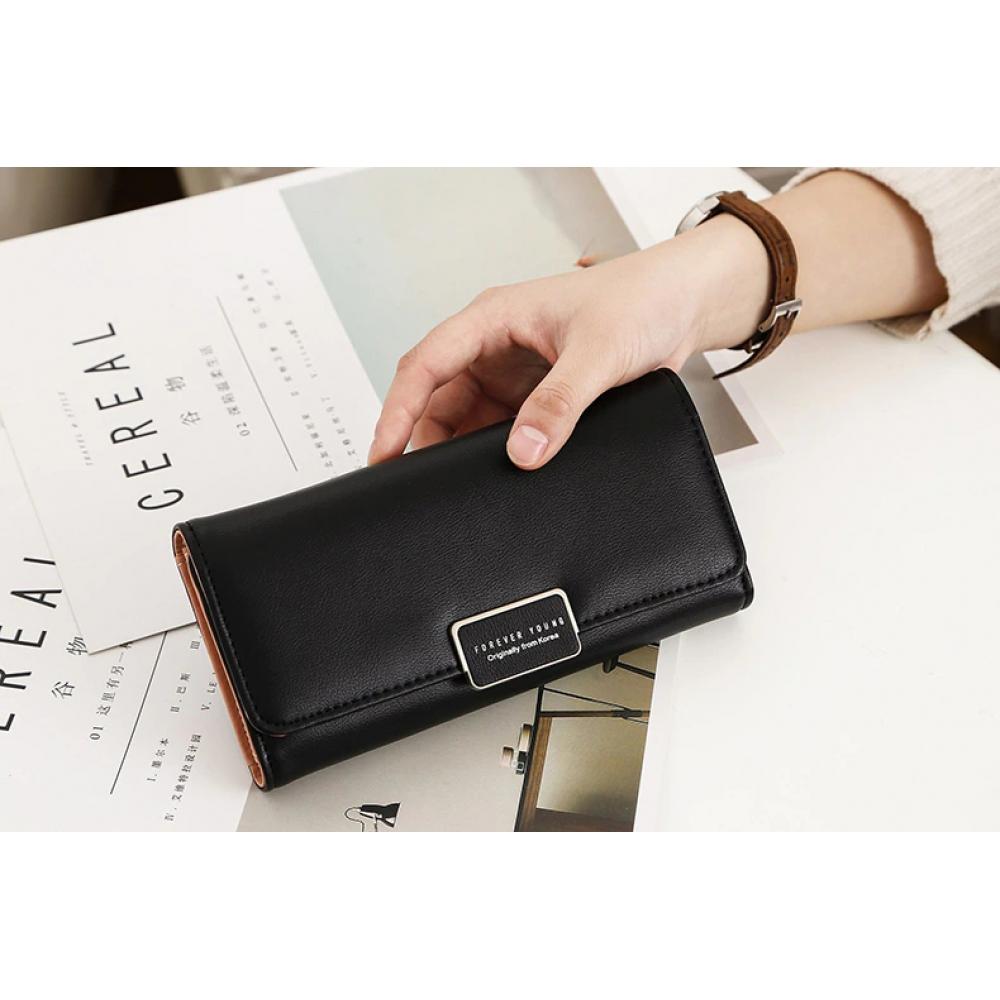 Классический черный длинный женский кошелек портмоне