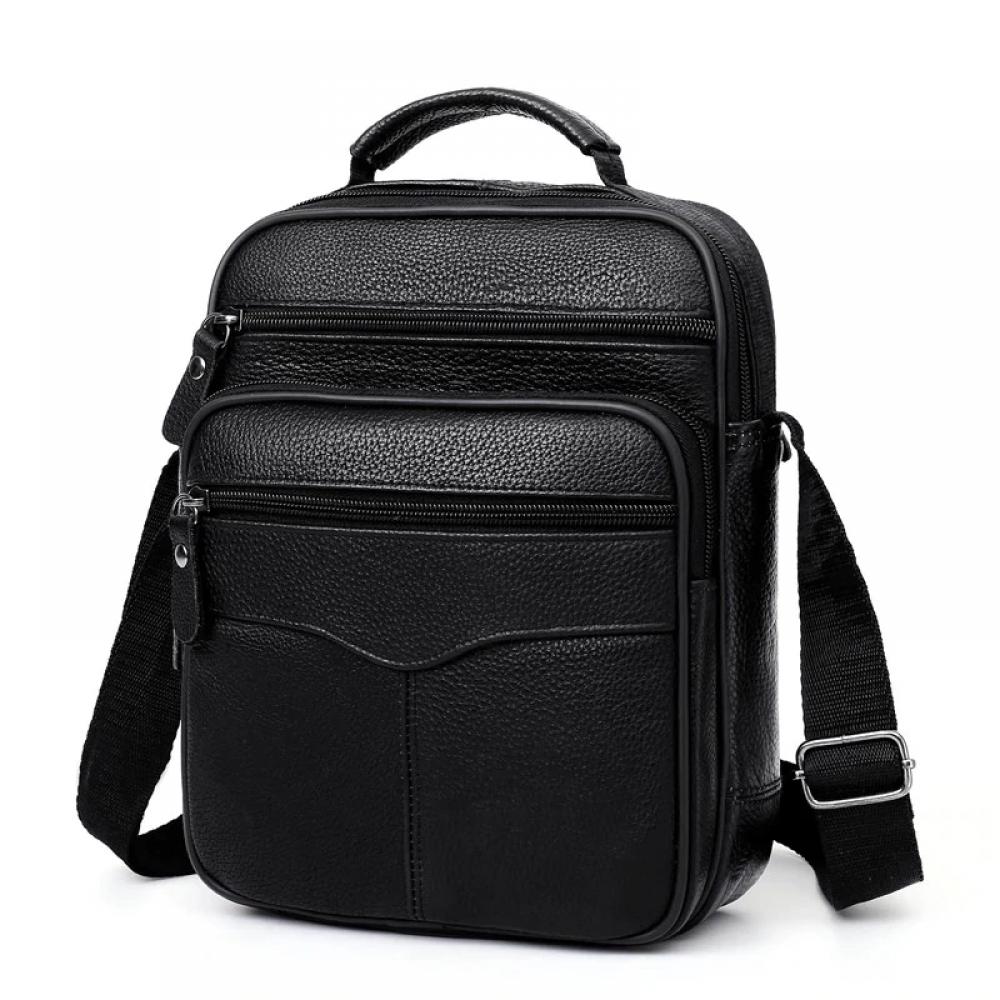 Təbii dəridən kişi üçün qara əl çantası