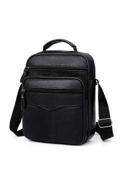 Мужская сумка черного цвета из натуральной кожи
