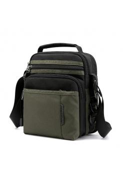 Мужская ручная сумка барсетка черно-зеленого цвета