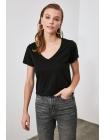 Черная женская футболка из хлопка Trendyolmilla
