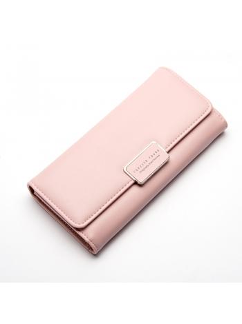 Женское светло розовое длинное портмоне