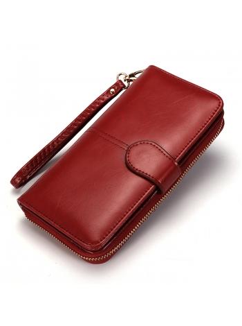 Женский красный бумажник длинный