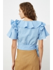 Женская голубая блузка Trendyolmilla с короткими рукавами и поясом