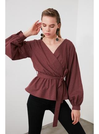 Tünd çəhrayı rəngli uzun qollu kəmərli qadın bluzu