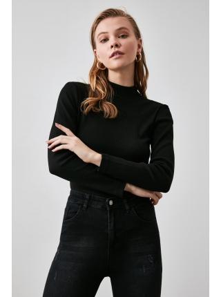 Qara uzun qollu viskondan trikotaj qadın bluzu