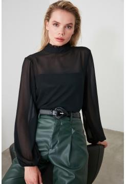 Женская блузка Trendyolmilla из шифона черного цвета с длинными рукавами