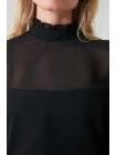 Uzun qollu şifondan Trendyolmilla qara qadın bluzu