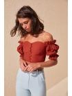 Женская блузка Trendyolmilla оранжевого цвета с пуговицами
