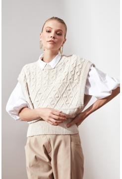 Вязанная белая женская блузка Trendyolmilla с широкими рукавами