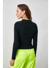 Tünd göy rəngli fermuarlı sport qadın bluzu