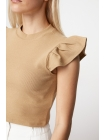 Женская блузка коричневого цвета со стойка воротником