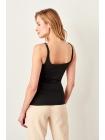 Женская черная блузка Trendyolmilla с воротником каре на лямках