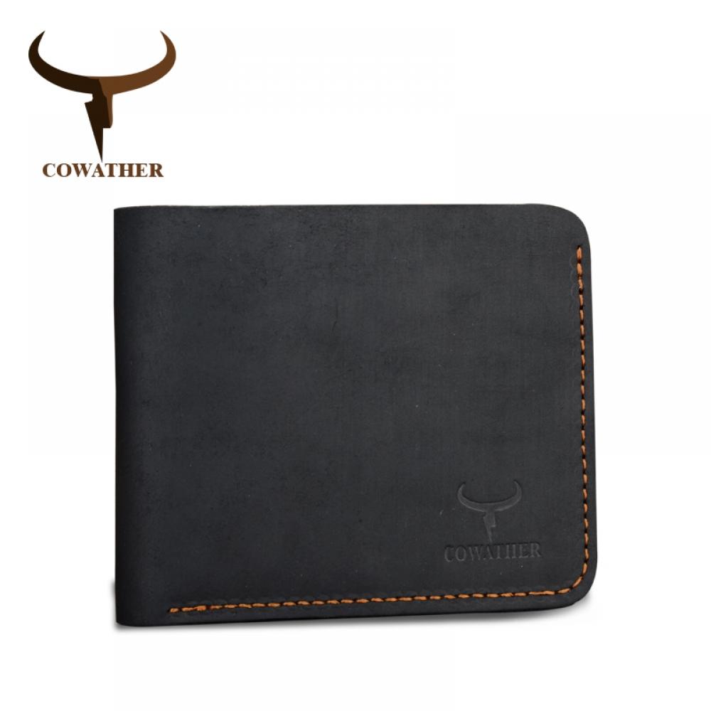 Мужское портмоне Cowather из кожи черного цвета
