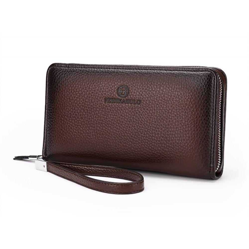 Мужское портмоне клатч Feidikabolo темного цвета на молнии
