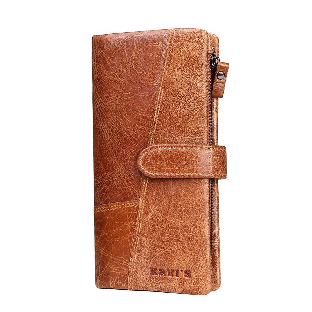 Длинный светло-коричневый мужской кошелек