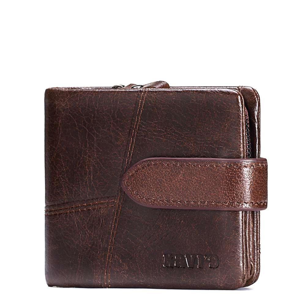 Мужской кошелек Kavi's из кожи с молнией и отделом для копеек